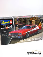 Revell: Model car kit 1/25 scale - Ford Torino 1976 - plastic parts, rubber parts, water slide decals and assembly instructions