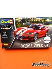 Revell: Maqueta de coche escala 1/25 - Dodge Viper GTS 1993 - piezas de plástico, piezas de goma, calcas de agua y manual de instrucciones