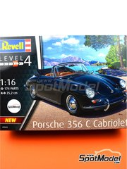 Revell: Model car kit 1/16 scale - Porsche 356 Cabriolet - plastic parts, rubber parts, water slide decals, assembly instructions and painting instructions image