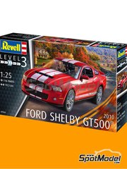 Revell: Model car kit 1/25 scale - Shelby GT500 2010 - plastic parts, rubber parts, water slide decals, assembly instructions and painting instructions