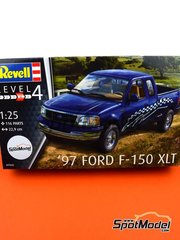 Revell: Model car kit 1/25 scale - Ford F-150 XLT 1997 - plastic parts, rubber parts, water slide decals, assembly instructions and painting instructions