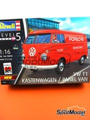 Revell: Model van kit 1/16 scale - Volkswagen Transporter T1 Kastenwagen Porsche Renndienst - plastic parts, rubber parts, water slide decals, assembly instructions and painting instructions image