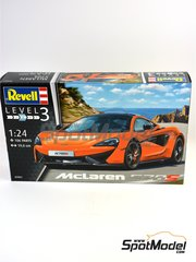 Revell: Model car kit 1/24 scale - McLaren 570S - plastic parts, rubber parts, water slide decals and assembly instructions