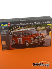 Revell: Model car kit 1/24 scale - Mini Cooper Mk. I #37 - Paddy Hopkirk (GB) + Henry Liddon (GB) - Montecarlo Rally 1964 - plastic parts, water slide decals and assembly instructions image