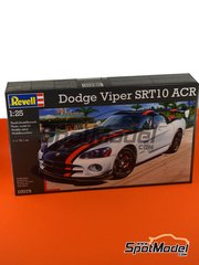 Revell: Model car kit 1/25 scale - Dodge Viper SRT 10 ACR - plastic parts, rubber parts, water slide decals and assembly instructions image