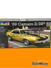 Revell: Model car kit 1/25 scale - Chevrolet Camaro Z/28 ES - plastic parts, rubber parts, water slide decals, assembly instructions and painting instructions - 1969 units