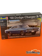 Revell: Model car kit 1/25 scale - Dodge Charger R/T 1968 - plastic parts, water slide decals and assembly instructions image