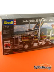Revell: Model truck kit 1/25 scale - Peterbilt 359 Conventional - plastic parts, rubber parts, water slide decals and assembly instructions image