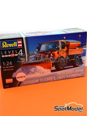 Revell: Model truck kit 1/24 scale - Mercedes-Benz Unimog U1300L Winterdienst - plastic parts, rubber parts, water slide decals, other materials, assembly instructions and painting instructions