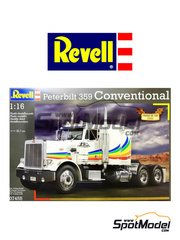 Revell: Model truck kit 1/16 scale - Peterbilt 359 Conventional - plastic parts, rubber parts, water slide decals and assembly instructions image