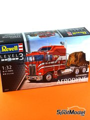 Revell: Model truck kit 1/32 scale - Kenworth COE Aerodyne - plastic parts, rubber parts, white metal parts and assembly instructions