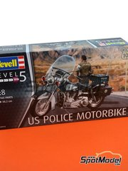 Revell: Model bike kit 1/8 scale - US Police Harley Davidson - plastic parts, rubber parts, water slide decals, assembly instructions and painting instructions image