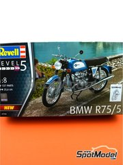 Revell: Model bike kit 1/8 scale - BMW R75/5 - plastic parts, rubber parts, water slide decals, assembly instructions and painting instructions