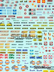 Sakatsu: Decals 1/32 scale - Sponsors 1960-1970: Shell, Castrol, Ferodo, Michelin, Dunlop, Gulf, Valvoline, Trico, Ducellier, ...