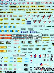 Sakatsu: Decals 1/32 scale - Sponsors 1970-1980: Esso, Cibie, Koni, Bilstein, STP, Facom, Marchell, Bosch, BBS, Elf, Sabelt, Arai, Arenox, ...