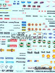 Sakatsu: Decals 1/32 scale - Sponsors 1980-1990: BP, Tag, Dunlop, Sachs, Castrol, Michelin, Shell, Kleber, Firestone, BP, Elf, Bendix, ...
