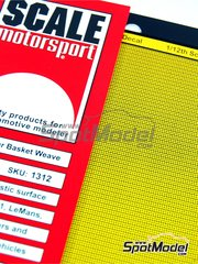 Scale Motorsport: Decals 1/12 scale - Extra large size basket weave Kevlar pattern in yellow on black - water slide decals