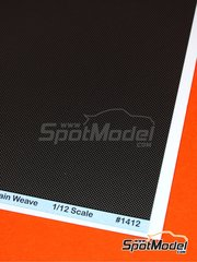 Scale Motorsport: Decals 1/12 scale - Extra large size plain weave carbon fiber pattern in pewter and black - water slide decals