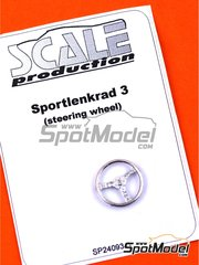 Scale Production: Detail 1/24 scale - Three spoked steering wheel - white metal parts