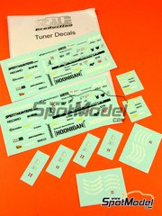 Scale Production: Decals 1/24 scale - Tuner sponsors: Speedhunters, idlers, Recaro, RWB, H&R, K&W, Sparco, Hoonigan, Ruf, STR, Illest, Tire Slayer, DP Motorsport, 9FF.