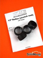 "Scale Production: Tyre set 1/24 scale - 13"" stretch wall tyre set - rubber parts - 4 units image"