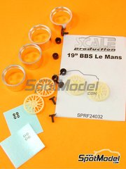 Scale Production: Rims 1/24 scale - BBS Le Mans 19 inches - resin parts, rubber parts, turned metal parts and water slide decals - 4 units