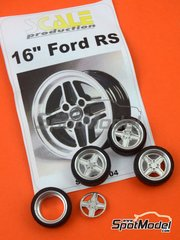 Scale Production: Rims and tyres set 1/24 scale - 16 inches Ford RS - resin parts, rubber parts and turned metal parts - for Belkits references BEL006, BEL-006, BEL007 and BEL-007, or Italeri references 3650 and 3655, or Revell references REV07374 and 7374