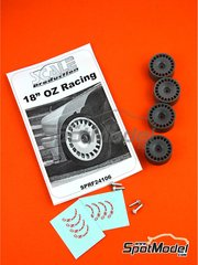 Scale Production: Rims 1/24 scale - 18 inches OZ Racing DTM - CNC metal parts, resin parts and water slide decals - for Beemax Model Kits references B24007 and Aoshima 098196, or Decalcas reference DCL-DEC006, or Fujimi references FJ125725, 125725 and RS-17