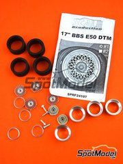 Scale Production: Rims and tyres set 1/24 scale - 17 inches BBS E50 DTM - resin parts, rubber parts, turned metal parts and white metal parts - for Beemax Model Kits reference B24007, or Decalcas reference DCL-DEC005, or Fujimi reference FJ125725, or Tamiya references TAM24080 and TAM24081