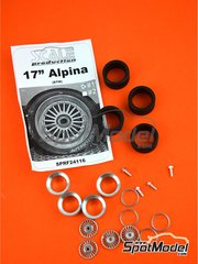 Scale Production: Rims and tyres set 1/24 scale - Alpina 17 inches DTM - CNC metal parts, rubber parts, turned metal parts, white metal parts and assembly instructions - for Beemax Model Kits reference B24007, or Decalcas reference DCL-DEC007, or Fujimi reference FJ125725