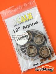 Scale Production: Rims and tyres set 1/24 scale - 18 inches Alpina Classic - resin parts and rubber parts - 4 units