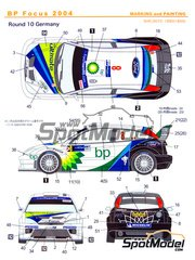 Shunko Models: Decals 1/24 scale - Ford Focus WRC BP #8 - François Duval (BE) + Stéphane Prévot (BE) - ADAC Deutschland Rally 2004 - for Tamiya reference TAM24217