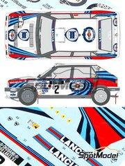 Shunko Models: Calcas de agua escala 1/24 - Lancia Delta HF Integrale 16v Martini Racing Nº 2 - Juha Kankkunen (FI) + Juha Piironen (FI) - Rally de los 1000 Lagos Finlandia 1991 - para kit de Hasegawa 25015