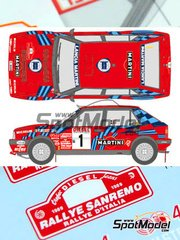 Shunko Models: Decals 1/24 scale - Lancia Delta HF Integrale 16v Martini Racing #1, 5 - Massimo 'Miki' Biasion (IT) + Tiziano Siviero (IT), Didier Auriol (FR) + Bernard Occelli (FR) - Sanremo Rally 1989 - for Hasegawa reference 25208