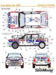Shunko Models: Decals 1/24 scale - Lancia Delta 16v Fina #1 - Didier Auriol (FR) + Bernard Occelli (FR) - Sanremo Rally 1991 - for Hasegawa kit