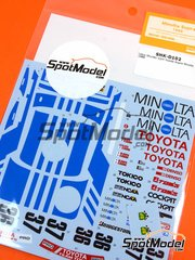 Shunko Models: Marking / livery 1/24 scale - Toyota Supra Turbo Group A Minolta #36, 37 - Geoff Lees (GB) + Keiichi Suzuki (JP), Masanori Sekiya (JP) + Hitoshi Ogawa (JP) 1988 - water slide decals and assembly instructions - for Tamiya reference TAM24076
