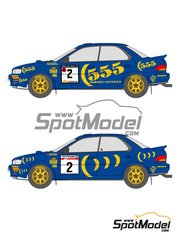 Shunko Models: Decals 1/24 scale - Subaru Impreza WRC 555 #2, 5 - Ari Vatanen (FI) + Bruno Berglund (SE), Colin McRae (GB) + Derek Ringer (GB) - RAC Rally, 1000 Lakes Finland Rally 1993 - for Hasegawa references 20297 and 25017 image