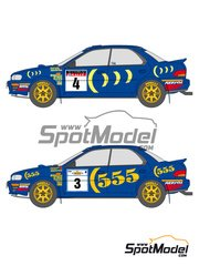Shunko Models: Decals 1/24 scale - Subaru Impreza WRC 555 #3, 4, 5, 6, 7 - Carlos Sainz (ES) + Luis Moya (ES), Colin McRae (GB) + Derek Ringer (GB), Richard Burns (GB) + Robert Reid (GB) - Acropolis rally, RAC Rally 1994, 1995 - for Hasegawa kits 25017 and 25063
