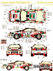 Shunko Models: Marking / livery 1/24 scale - Toyota Celica Turbo 4WD Castrol Marlboro #1, 2, 3, 5 - Yasuhiro Iwase (JP) + Sudhir Vinayak (KE), Juha Kankkunen (FI) + Juha Piironen (FI), Markku Alén (FI) + Ilkka Kivimäki (FI), Ian Duncan (KE) + Ian Munro (KE) - Safari Rally 1993 - water slide decals and assembly instructions - for Hasegawa reference 20309