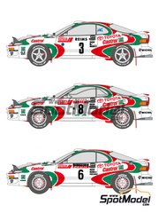 Shunko Models: Marking / livery 1/24 scale - Toyota Celica GT-Four WRC Castrol #3, 7, 6, 8 - Juha Kankkunen (FI) + Juha Piironen (FI), Didier Auriol (FR) + Bernard Occelli (FR) - Montecarlo Rally - Rallye Automobile de Monte-Carlo, Sanremo Rally 1993  and 1994 - water slide decals and assembly instructions - for Tamiya references TAM24125 and 24125