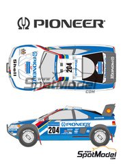Shunko Models: Marking 1/24 scale - Peugeot 405 Turbo 16 Pioneer #204, 206 - Ari Vatanen (FI) + Bruno Berglund (SE), Jacques Bernard 'Jacky' Ickx (BE) + Christian Tarin (FR) - Paris Dakar Rally 1989 - water slide decals and assembly instructions - for Tamiya kit TAM24092
