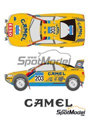 Shunko Models: Marking / livery 1/24 scale - Peugeot 405 Turbo 16 Camel #203, 204 - Ari Vatanen (FI) + Bruno Berglund (SE), Björn Waldegård (SE) + Jean Claude Fenouil (FR) - Paris Dakar Rally 1990 - water slide decals and assembly instructions - for Tamiya reference TAM24094
