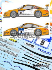 Shunko Models: Marking 1/24 scale - Porsche 911 GT3R Hybrid 2.0 #36, 9 - Patrick Long (US) + Jörg Bergmeister (DE) + Marco Holzer (DE) + Richard Lietz (AT) - 24 Hours Nürburgring 2011 - water slide decals and assembly instructions - for Fujimi kit FJ123905