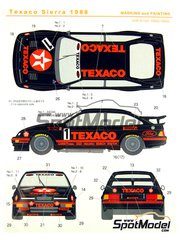 Shunko Models: Marking / livery 1/24 scale - Ford Sierra Eggenberger RS500 Group A Texaco #1, 2 - Pierre Dieudonne (BE) + Brancatelli, Klaus Ludwig (DE) + Steve Soper (GB) - European Touring Car Championship 1988 - water slide decals and assembly instructions - for Tamiya kit TAM24080