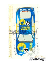 Shunko Models: Marking 1/24 scale - Ford Sierra RS500 Group A Piumini Trampio #1, 22 - Klaus Niedzwiedz (DE) + Hisashi Yokoshima (JP) - European Touring Car Championship 1988 - water slide decals and assembly instructions - for Tamiya kit TAM24081