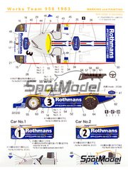Shunko Models: Marking / livery 1/24 scale - Porsche 956 Works Team Rothmans #1, 2, 3 - Derek Bell (GB) + Jacques Bernard 'Jacky' Ickx (BE), Jochen Mass (DE) + Stefan Bellof (DE), Vern Schuppan (AU) + Alvah Robert 'Al' Holbert (US) + Hurley Haywood (US) - 24 Hours Le Mans 1983 - water slide decals and assembly instructions - for Tamiya references TAM24047, TAM24049, TAM24309 and TAM24314 image