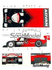 Shunko Models: Decoración escala 1/24 - Porsche 962C Advan Nº 25 - Junimitsu + Stanley Dickens (SE) - Copa GT de Japon JGTC 1989 - calcas de agua y manual de instrucciones - para kits de Tamiya TAM24233 y TAM24313