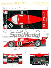 Shunko Models: Marking / livery 1/24 scale - Porsche 962C Kenwood #10 - Bruno Giacomelli (IT) + Giovanni Lavaggi (IT) - Japan GT Championship JGTC 1989 - water slide decals and assembly instructions - for Tamiya references TAM24233 and TAM24313