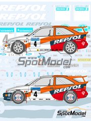 Shunko Models: Marking / livery 1/24 scale - Ford Escort WRC Repsol #4, 5 - Carlos Sainz (ES) + Luis Moya (ES), Francois Delecour (FR) + Daniel Grataloup (FR) - Svezia Sweden Rally 1996 - water slide decals and assembly instructions - for Tamiya kit