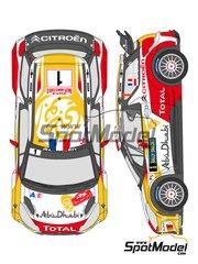 Shunko Models: Decals 1/24 scale - Citroen DS3 WRC Abu Dhabi #1, 2, 10, 14 - Khalid Al-Qassimi (AE) + Scott Martin (GB), Sebastien Loeb (FR) + Daniel Elena (MC), Daniel 'Dani' Sordo (ES) + Carlos Pedro del Barrio (AR), Mikko Hirvonen (FI) + Jarmo Lehtinen (FI) - Svezia Sweden Rally 2013 - for Heller reference 80757